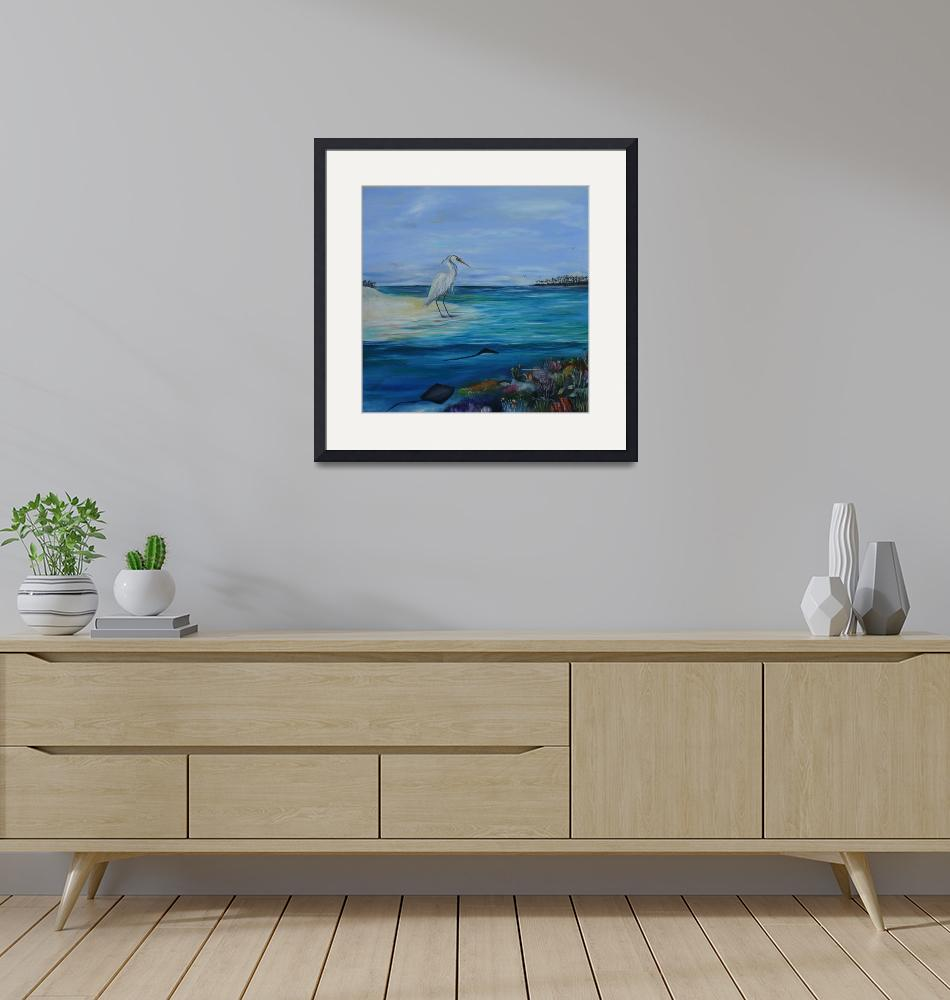 """""""Egret on the beach(1of3)""""  (2008) by artistamy"""