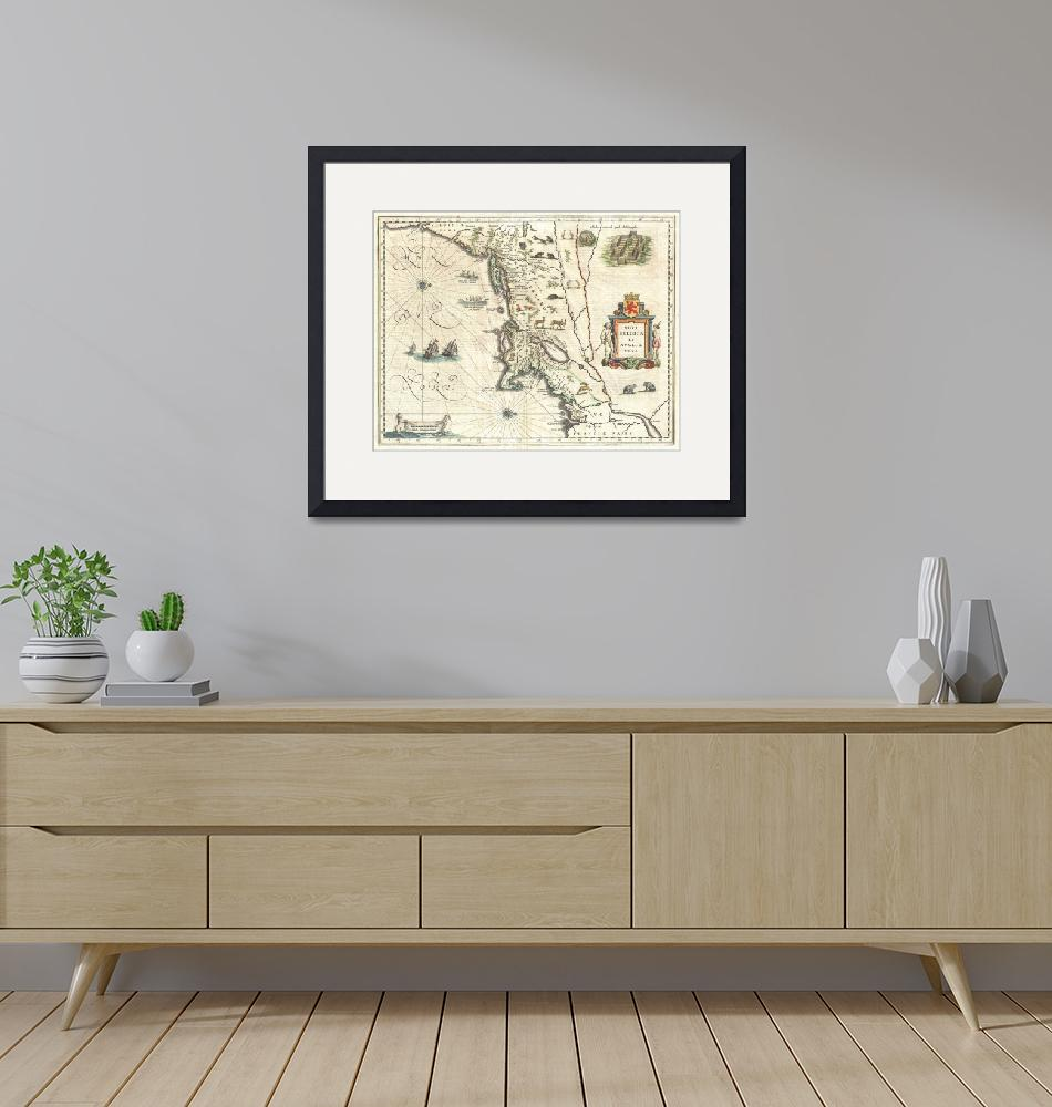 """""""Map of New England and New York by Blaeu""""  by FineArtClassics"""