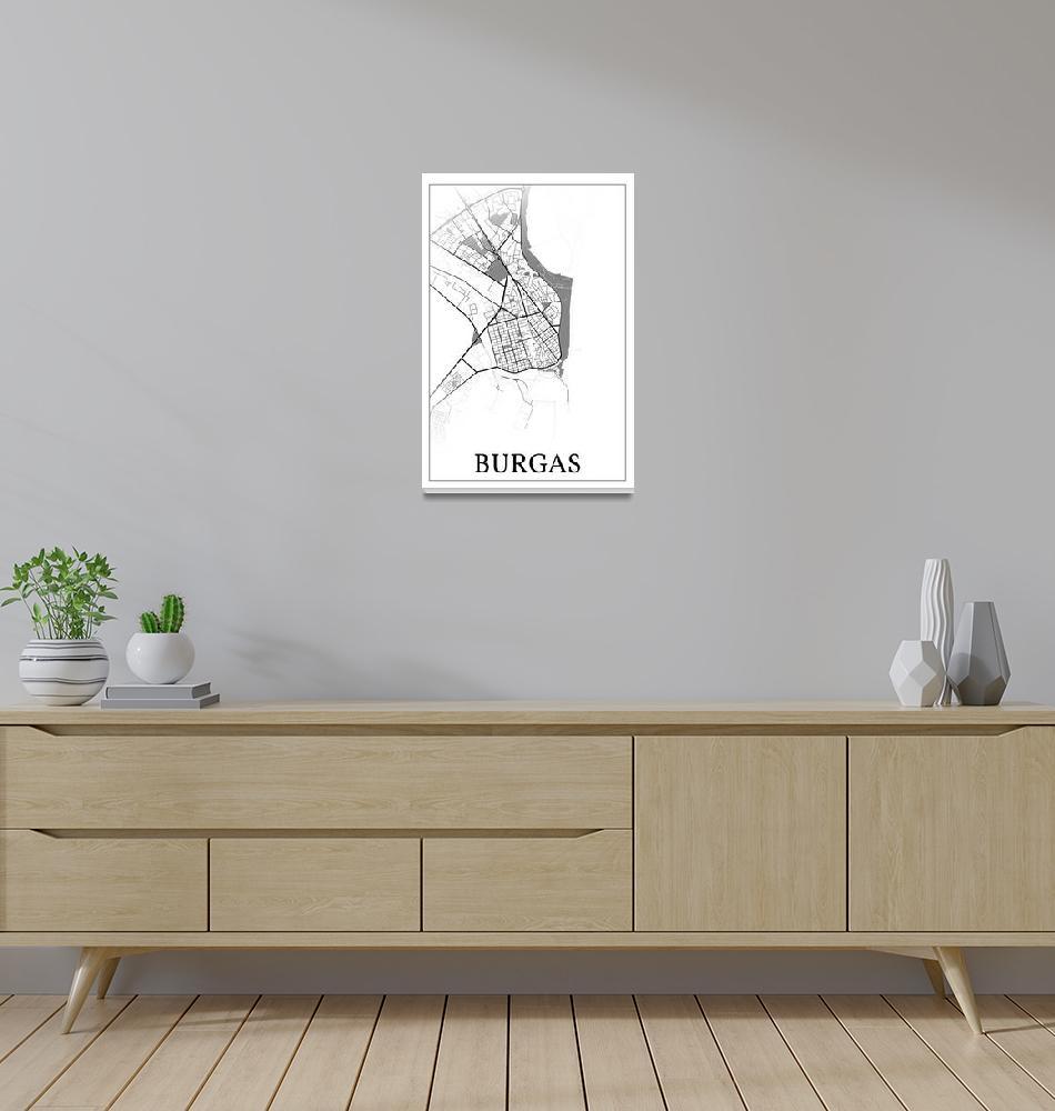 """Burgas, Bulgaria, city map print.""  by dandistudio"