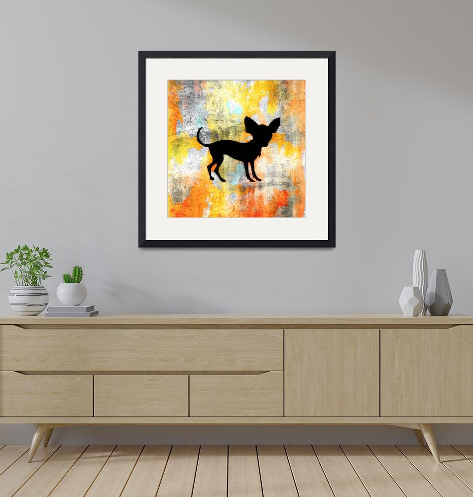 """""""Chihuahua Silhouette on Citrus Colorwash""""  (2013) by SignaturePromos"""