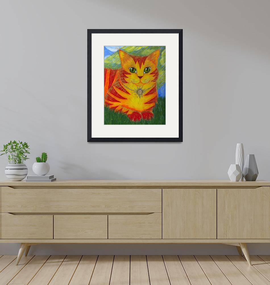 """Rajah Golden Sun Cat - Orange Cat Art""  (2003) by tigerpixie"