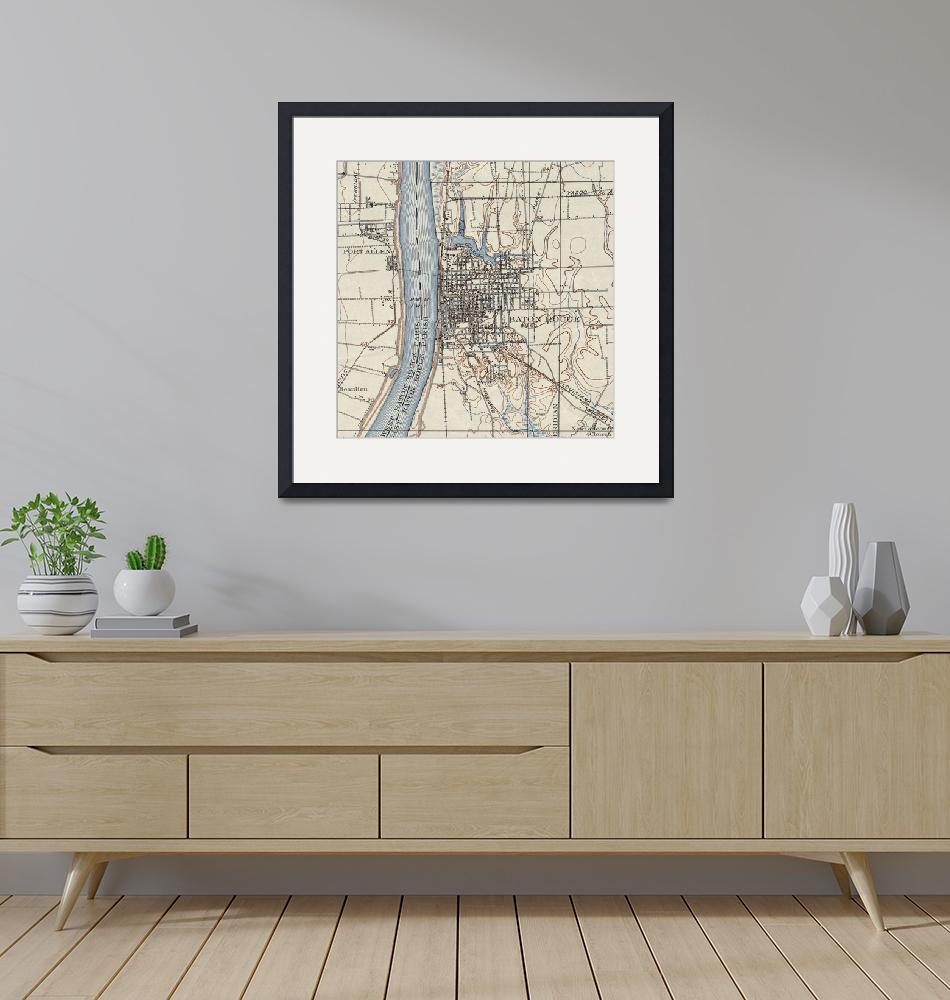 """""""Vintage Map of Baton Rouge Louisiana (1906)""""  by Alleycatshirts"""