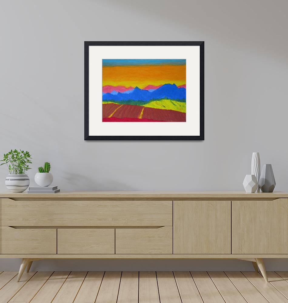 """Mountains in pastel""  (2005) by Cocasse"