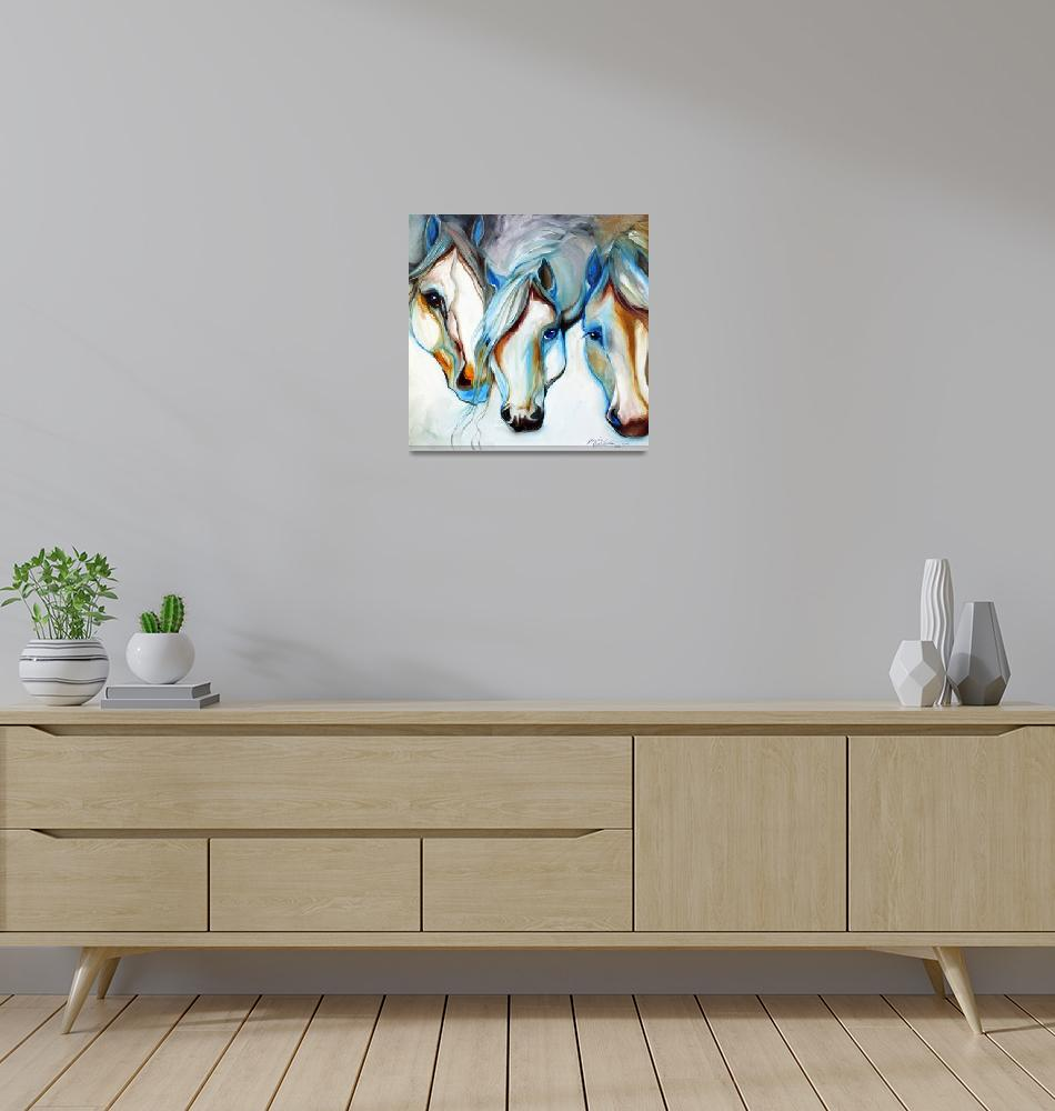 """""""3 WILD HORSES in ABSTRACT""""  (2010) by MBaldwinFineArt2006"""