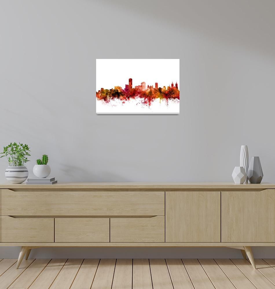 """Adelaide Australia Skyline""  (2018) by ModernArtPrints"