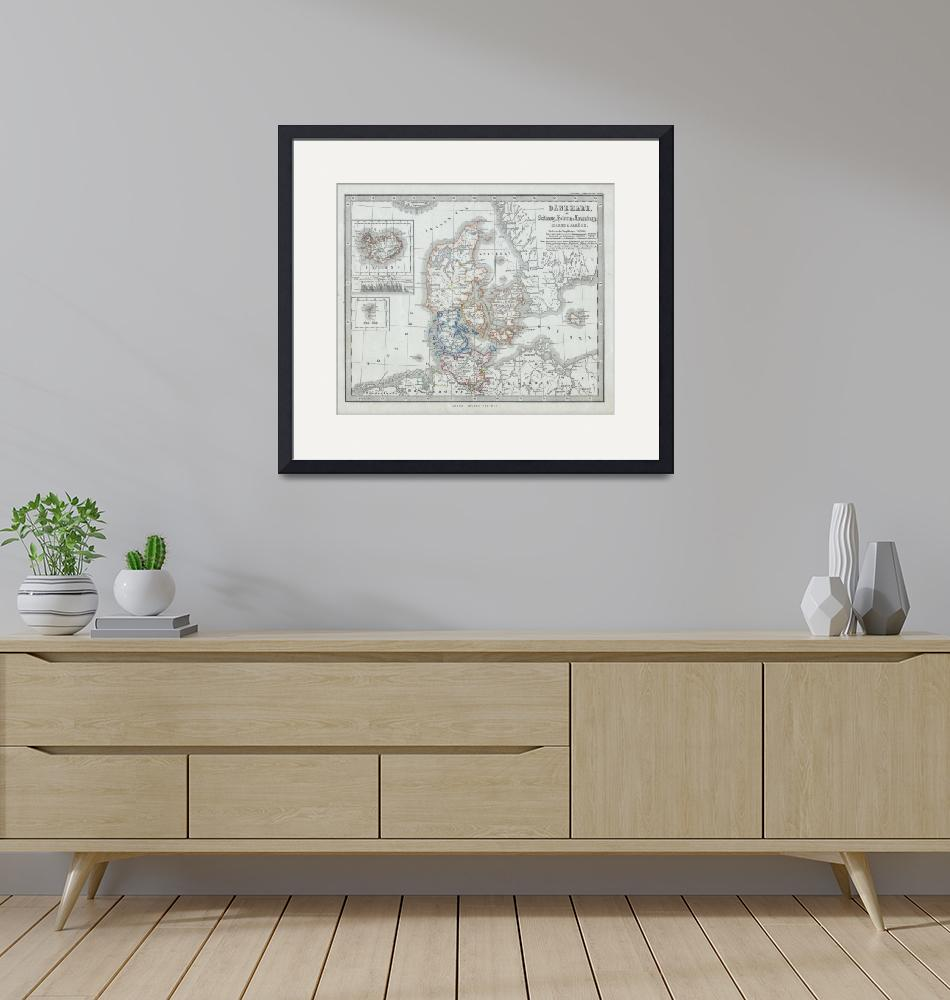 """""""Vintage Map of Denmark (1862)""""  by Alleycatshirts"""