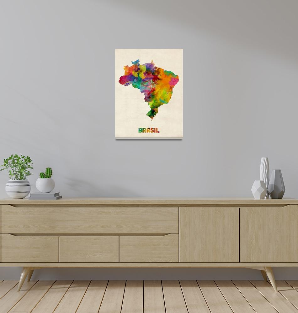 """Brazil Watercolor Map""  (2013) by ModernArtPrints"