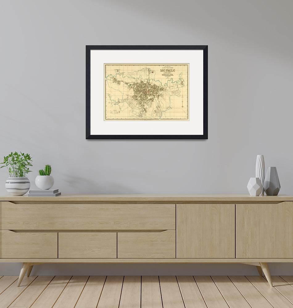 """Vintage Map of Sao Paulo Brazil (1916)""  by Alleycatshirts"