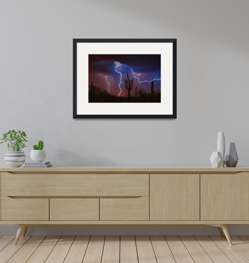 """Saguaro Lightning Strike Fine Art Photography""  (2008) by lightningman"