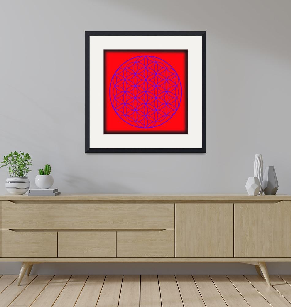 """""""Flower of Life in Red & Purple""""  (2015) by MARIF"""