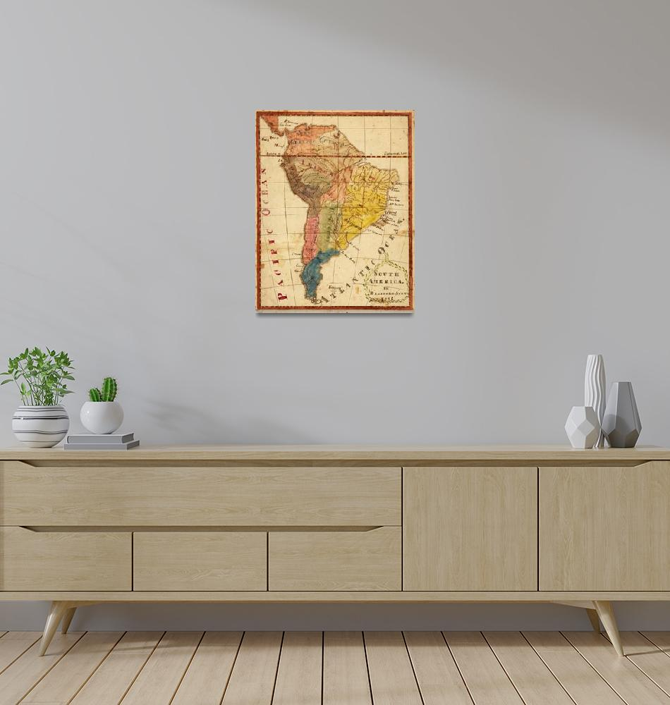 """""""Vintage Map of South America (1816)""""  by Alleycatshirts"""