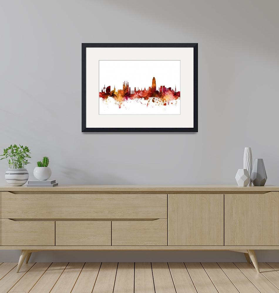 """Barcelona Spain Skyline""  (2018) by ModernArtPrints"