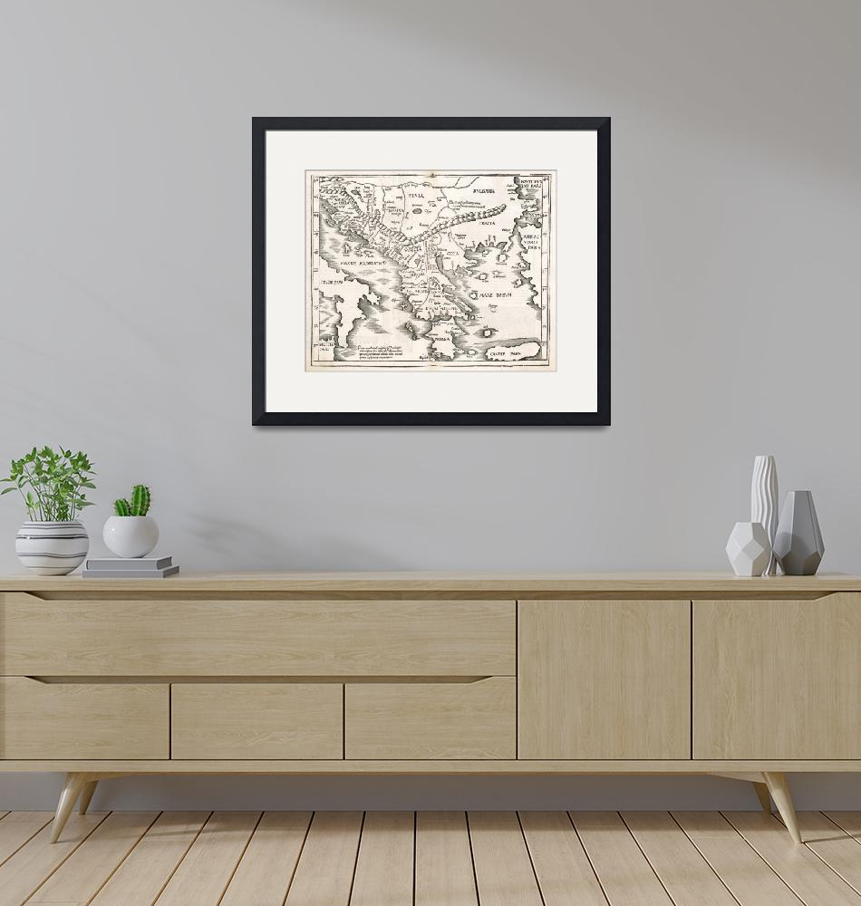 """Vintage Map of Greece (1525)""  by Alleycatshirts"