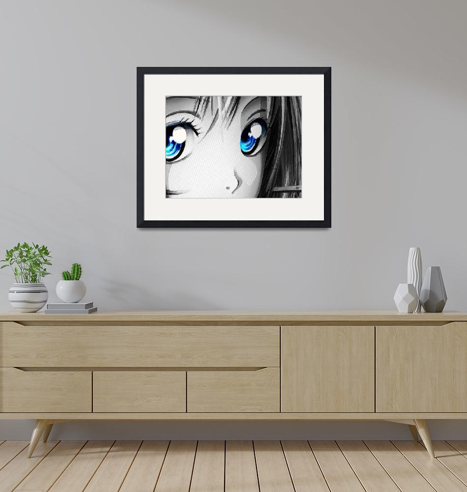 """Anime Girl Eyes 2 Black And White Blue Eyes""  (2018) by RubinoFineArt"