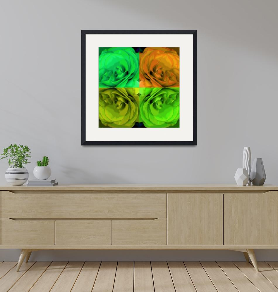 """""""Majid 4x4 Roses orange greens center rotated""""  (2009) by LeslieTillmann"""