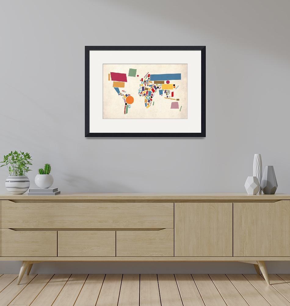 """World Map Abstract""  (2011) by ModernArtPrints"
