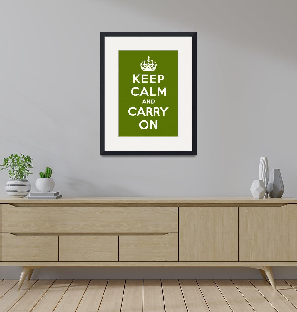 """Green Keep Calm And Carry On 3""  by oldies"