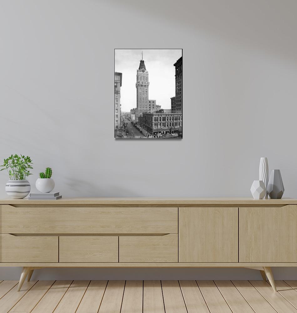 """Tribune Tower, 13th Street, Oakland, c.1925""  by worldwidearchive"