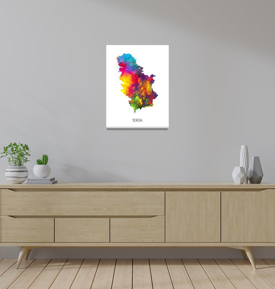 """Serbia Watercolor Map""  (2019) by ModernArtPrints"