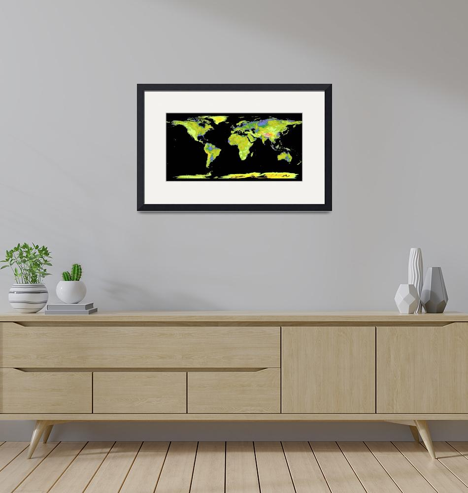 """""""Digital elevation model of the continents on Earth""""  by stocktrekimages"""