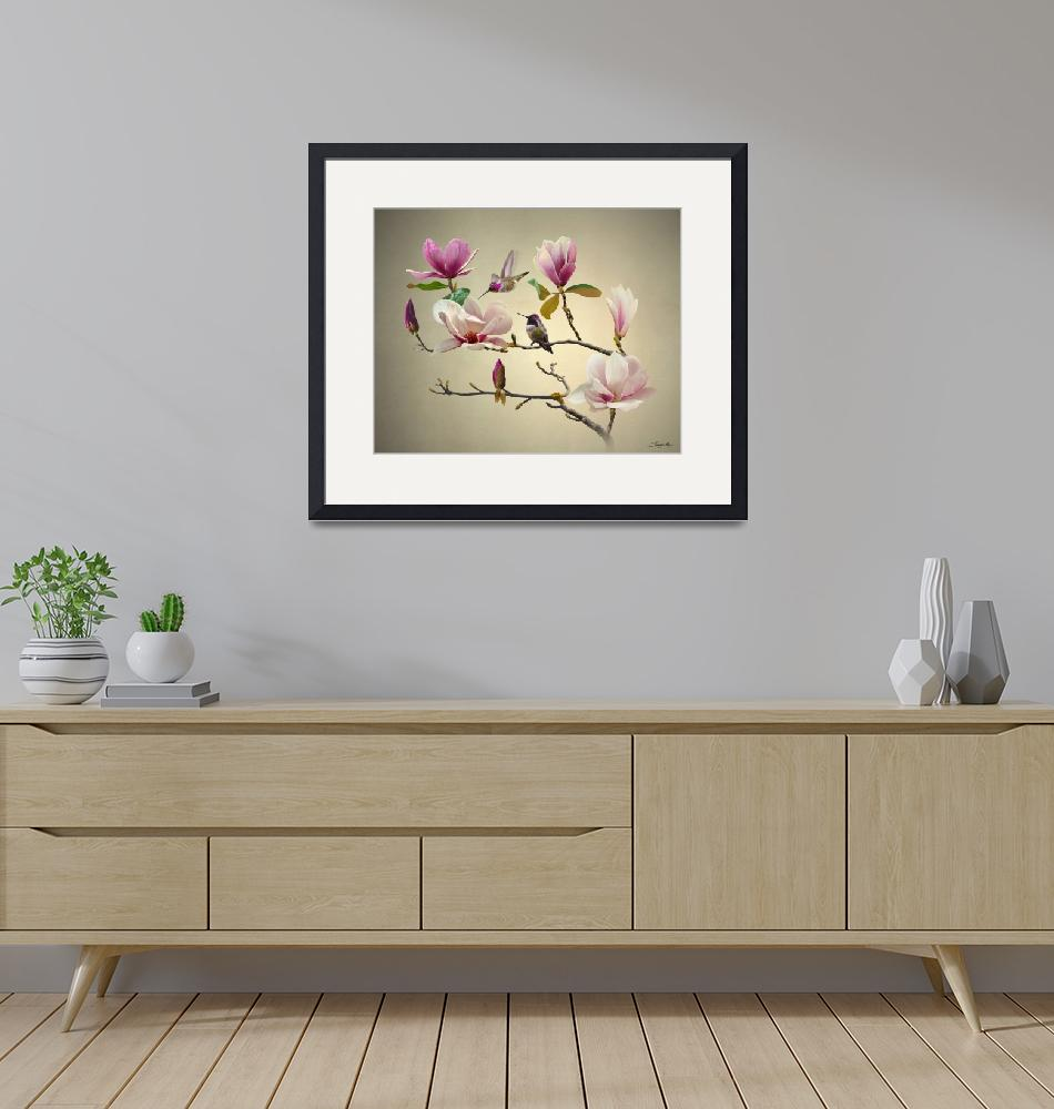 """""""Magnolia and Hummingbirds""""  (2021) by spadecaller"""