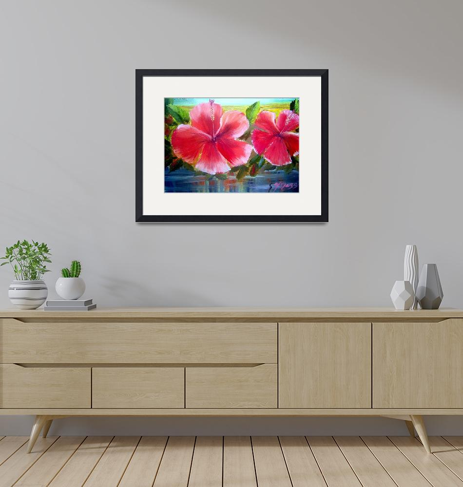 """""""Blooming Hibiscus Oil Painting""""  (2009) by mazz"""