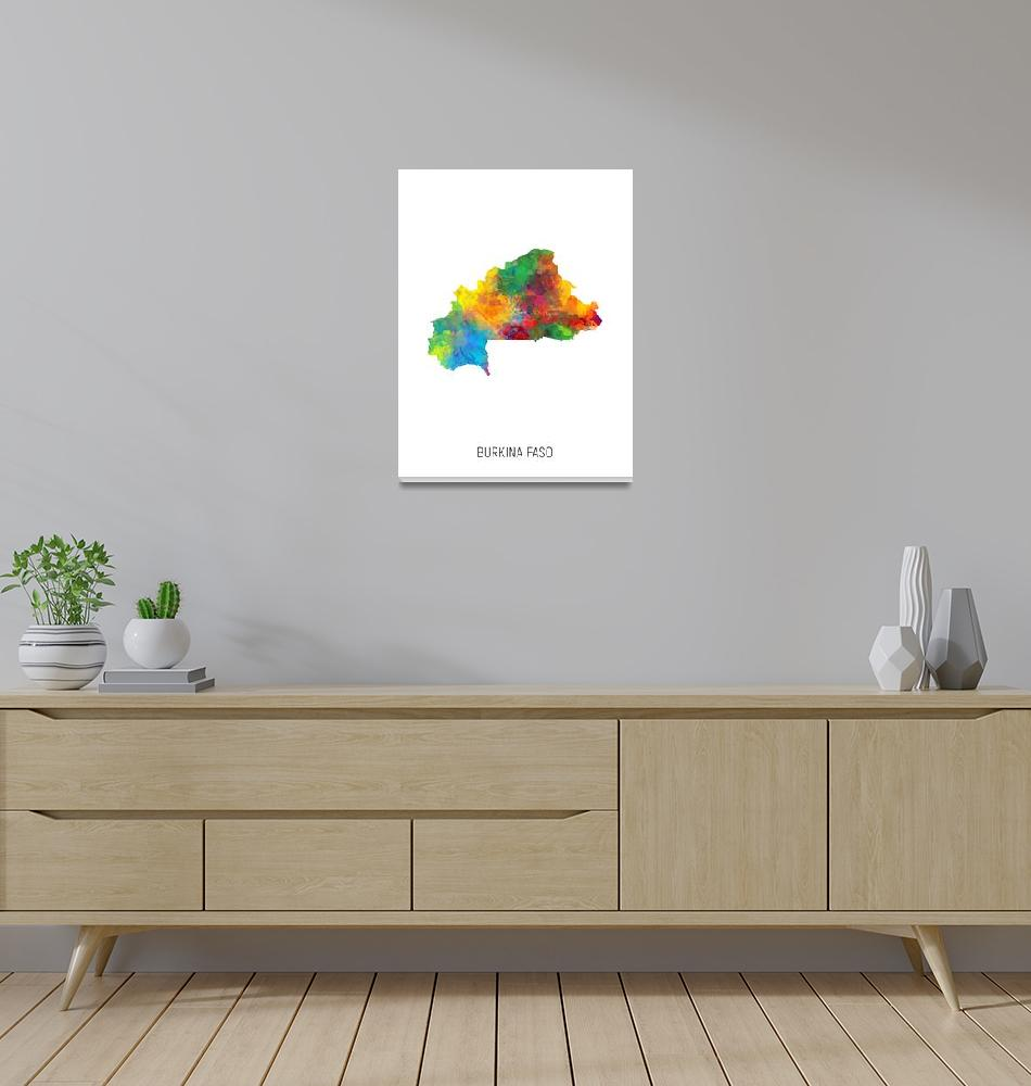 """Burkina Faso Watercolor Map""  (2019) by ModernArtPrints"