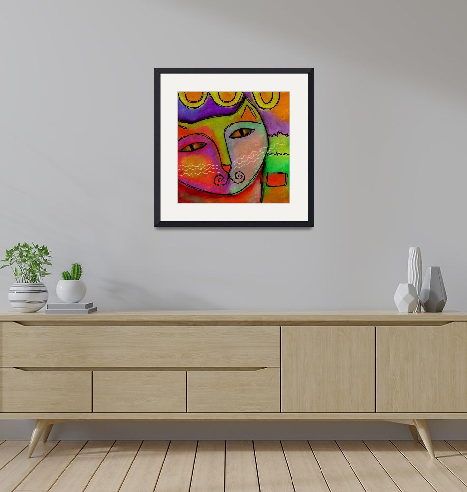 """""""Colorful Abstract Cat Portrait""""  (2015) by jackieludtke"""