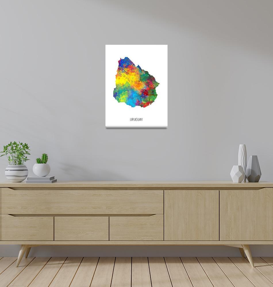 """Uruguay Watercolor Map""  (2019) by ModernArtPrints"