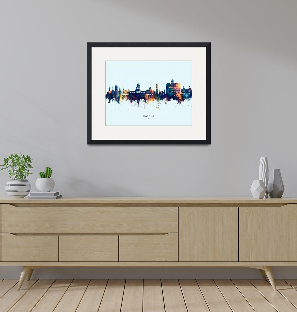 """Havana Cuba Skyline""  (2019) by ModernArtPrints"