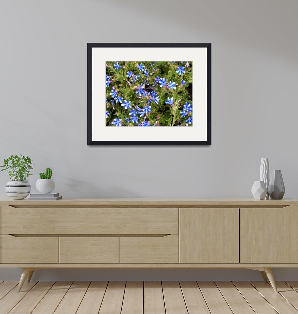 """""""blue flowers and bumble bee""""  by Bisbeebabe"""