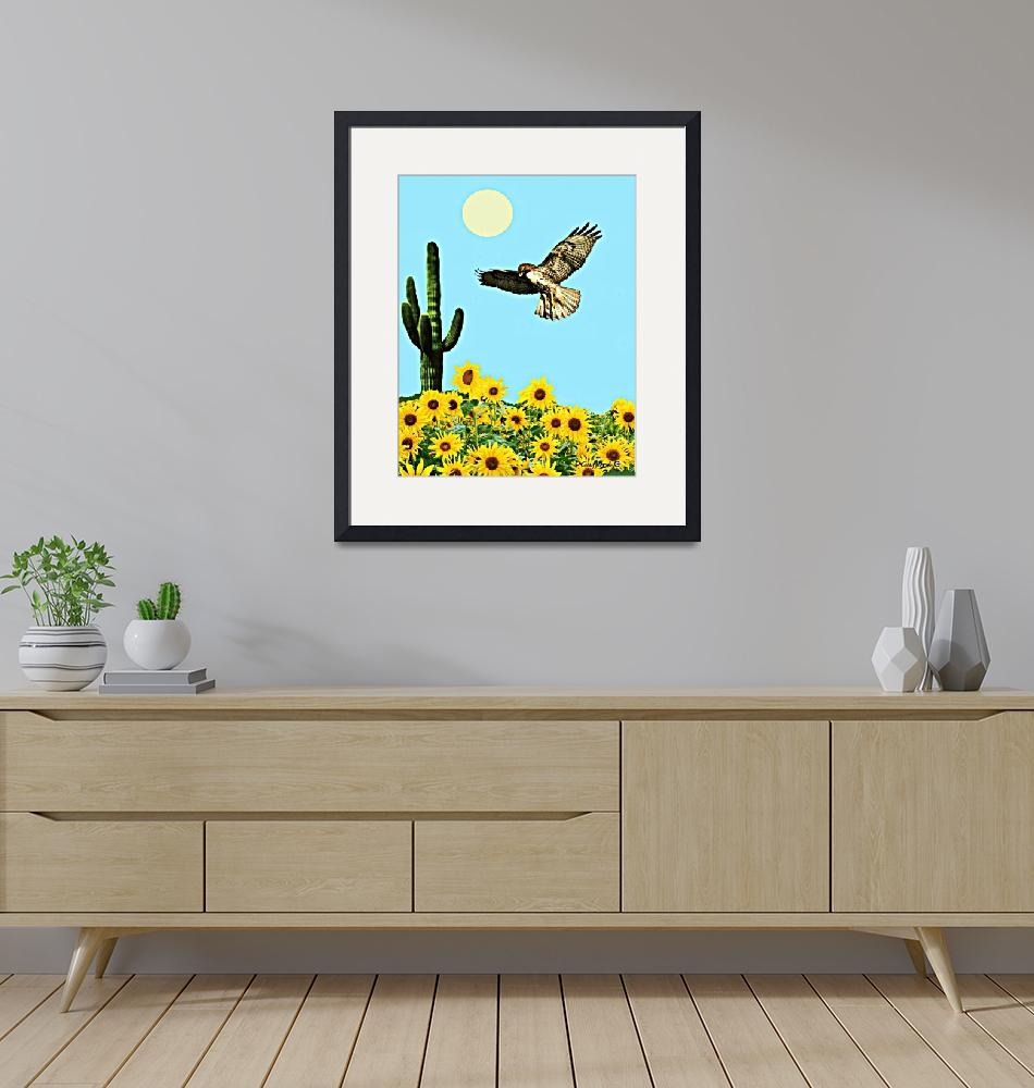 """""""Red Tail Hawk & Sunflowers""""  (2018) by davegafford"""