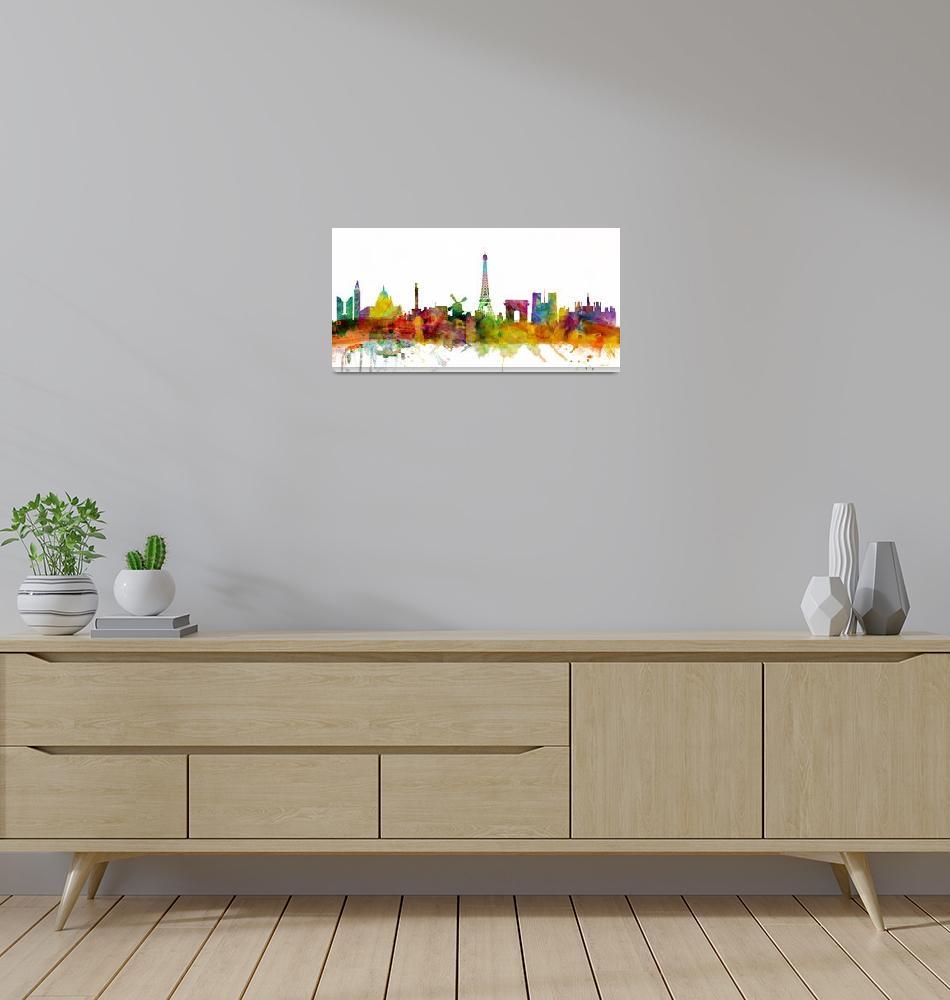 """Paris France Skyline Panoramic""  (2013) by ModernArtPrints"