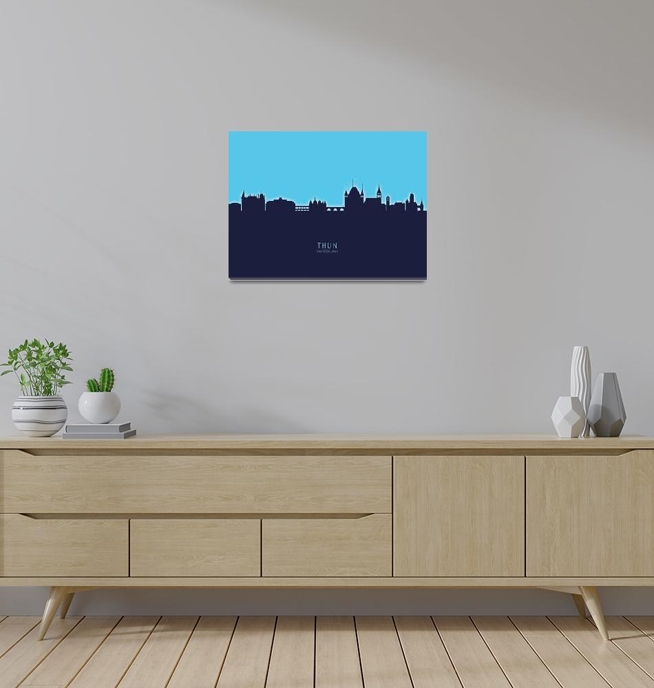 """Thun Switzerland Skyline""  (2020) by ModernArtPrints"