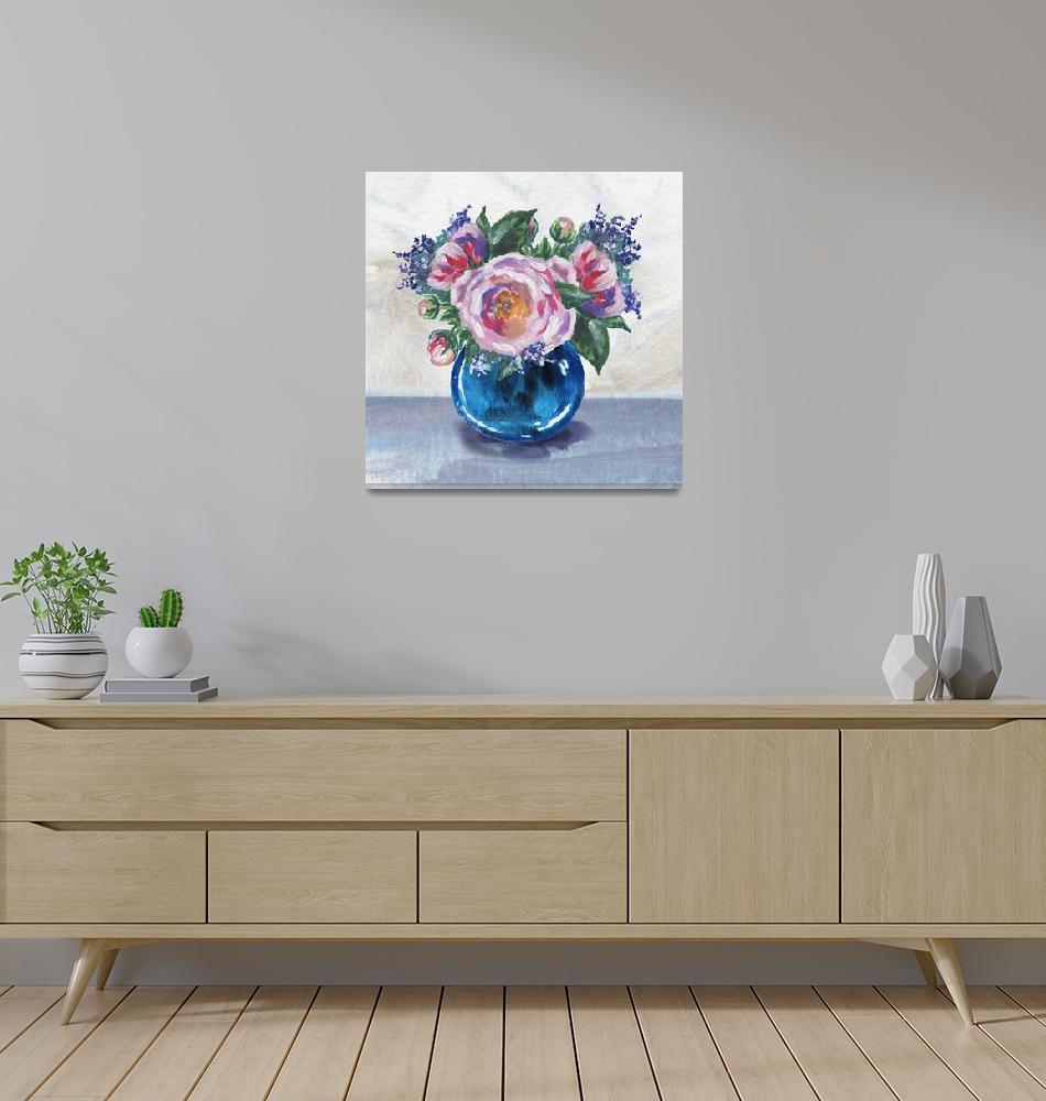 """Blue Vase Flowers Bouquet Impressionism""  (2019) by IrinaSztukowski"