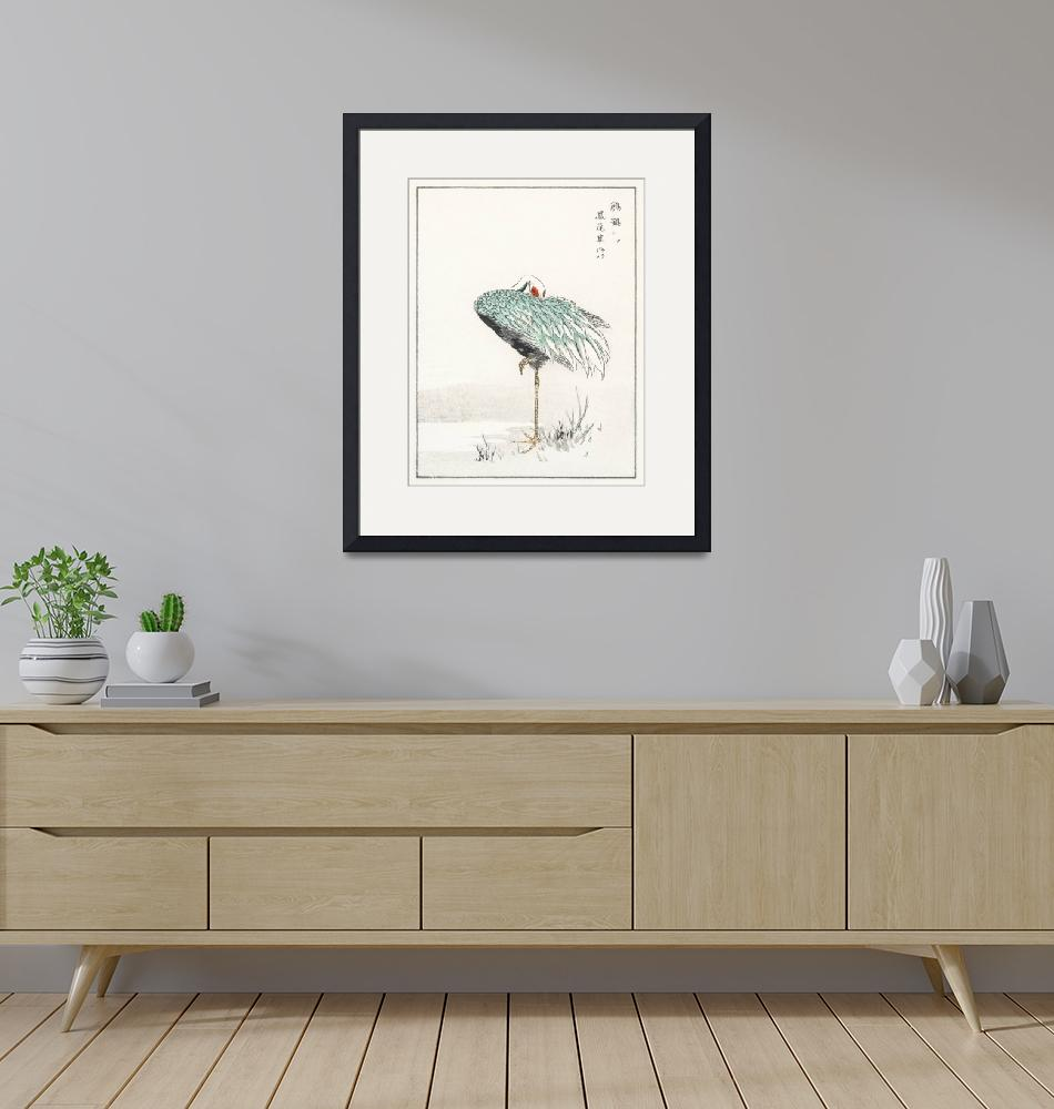 """""""White-Naped Crane and New Years Fernby Numata Kash"""" by FineArtClassics"""