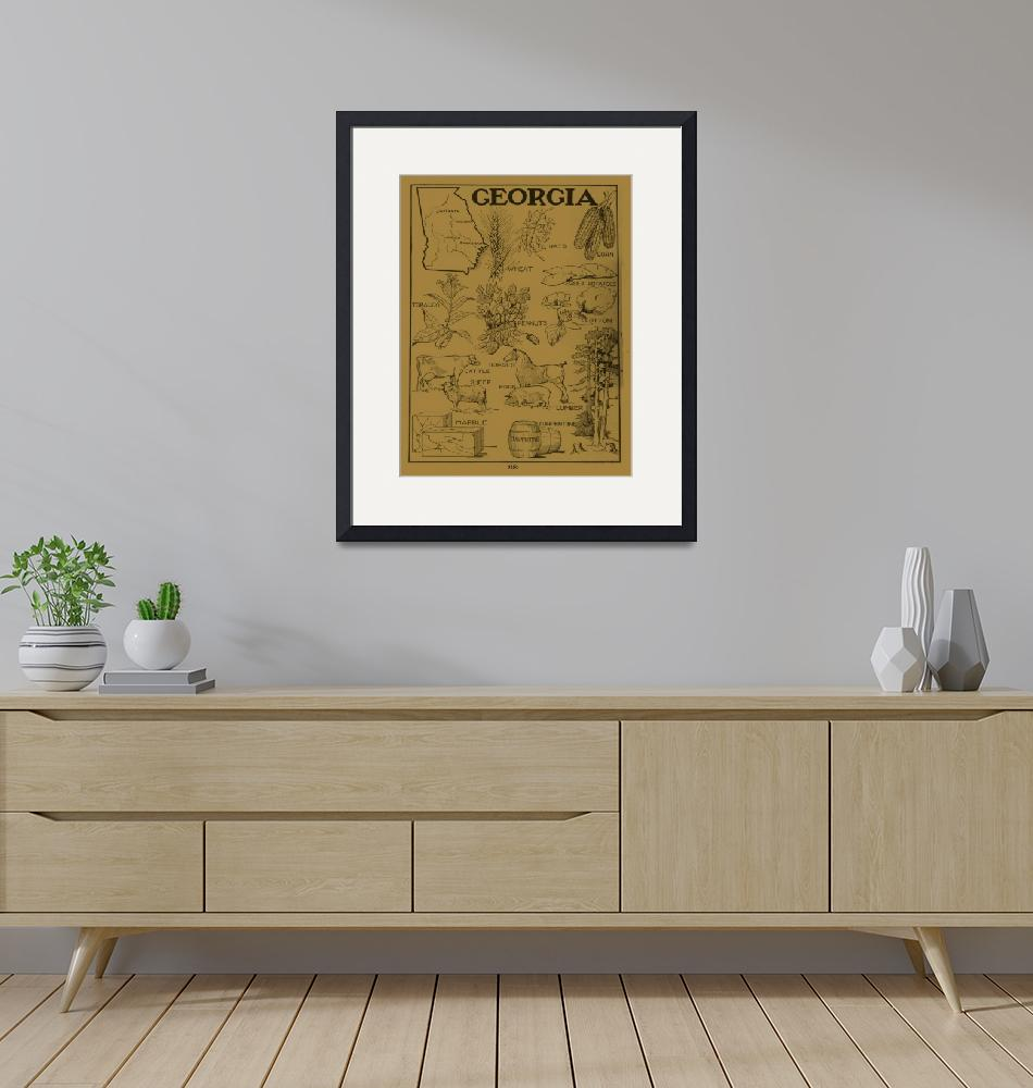 """Vintage Agricultural Map of Georgia (1915) - Tan""  by Alleycatshirts"