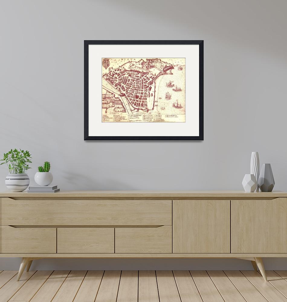 """""""Vintage Map of Nice France (1624)"""" by Alleycatshirts"""