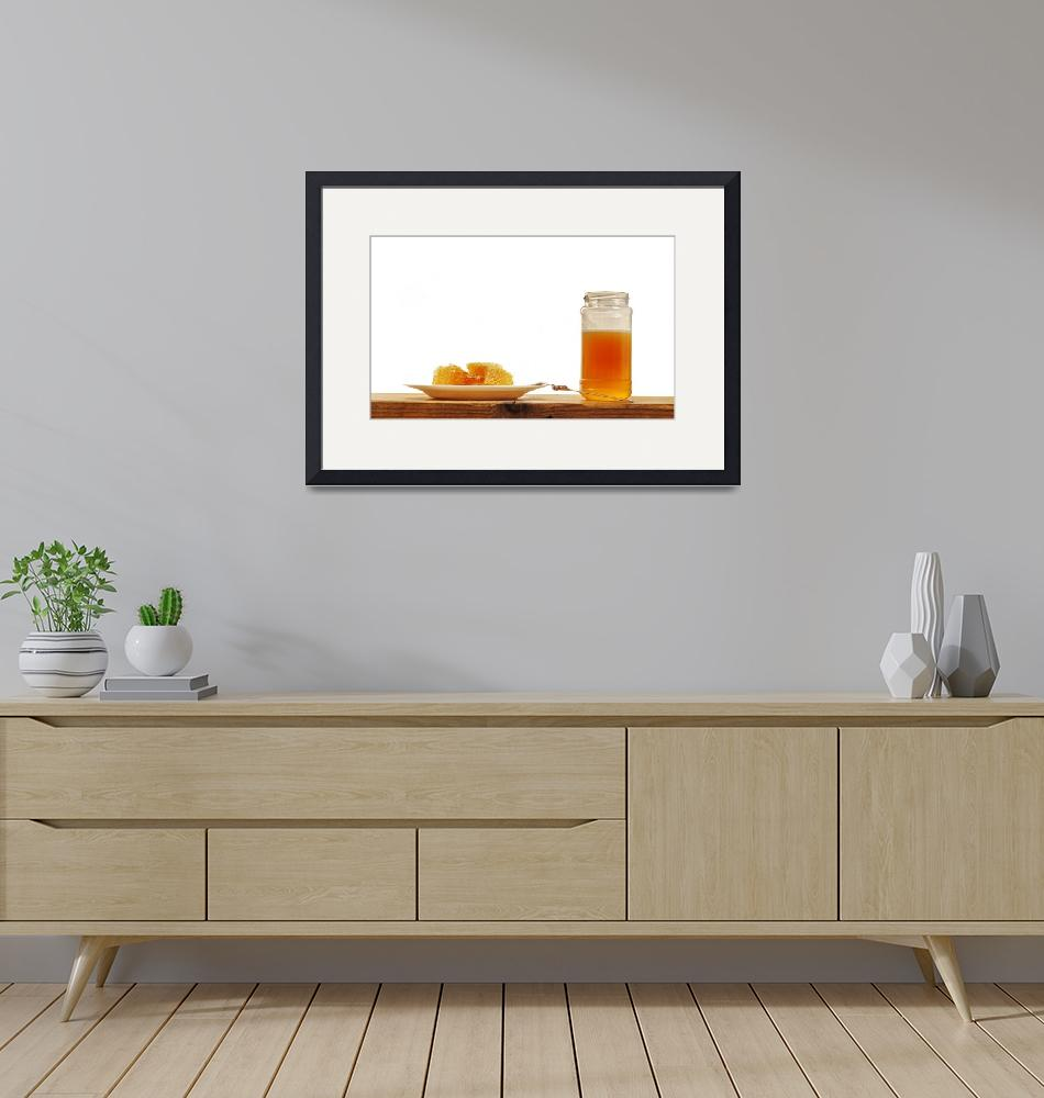 """""""Honeycomb and Honey Jar on Wooden Table, Isolated""""  by Mohamed-Fadly"""