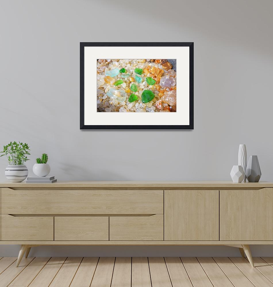 """Green Seaglass Coastal Beach Agates art prints""  (2014) by BasleeTroutman"