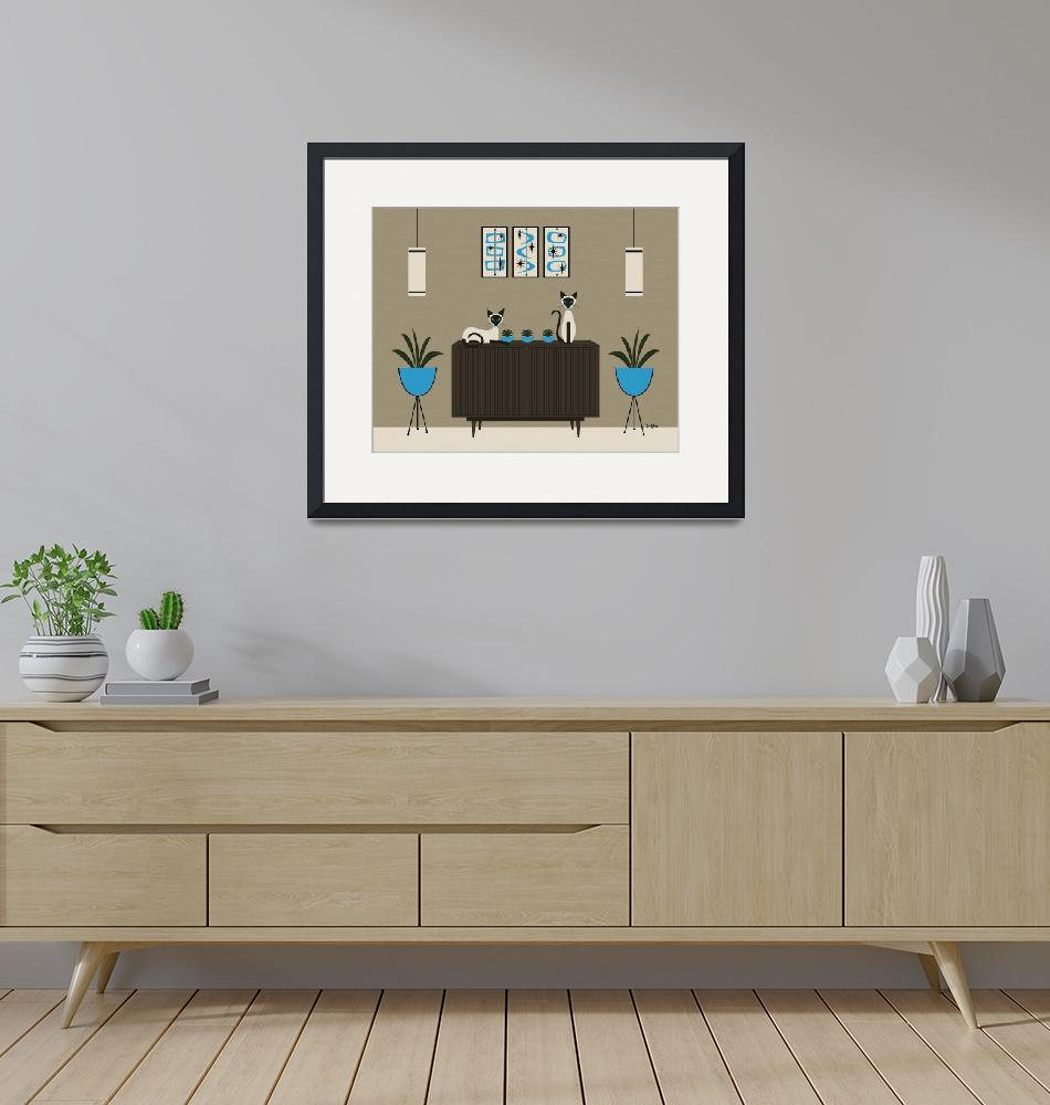 """""""Mid Century Room with Siamese Cats""""  by DMibus"""