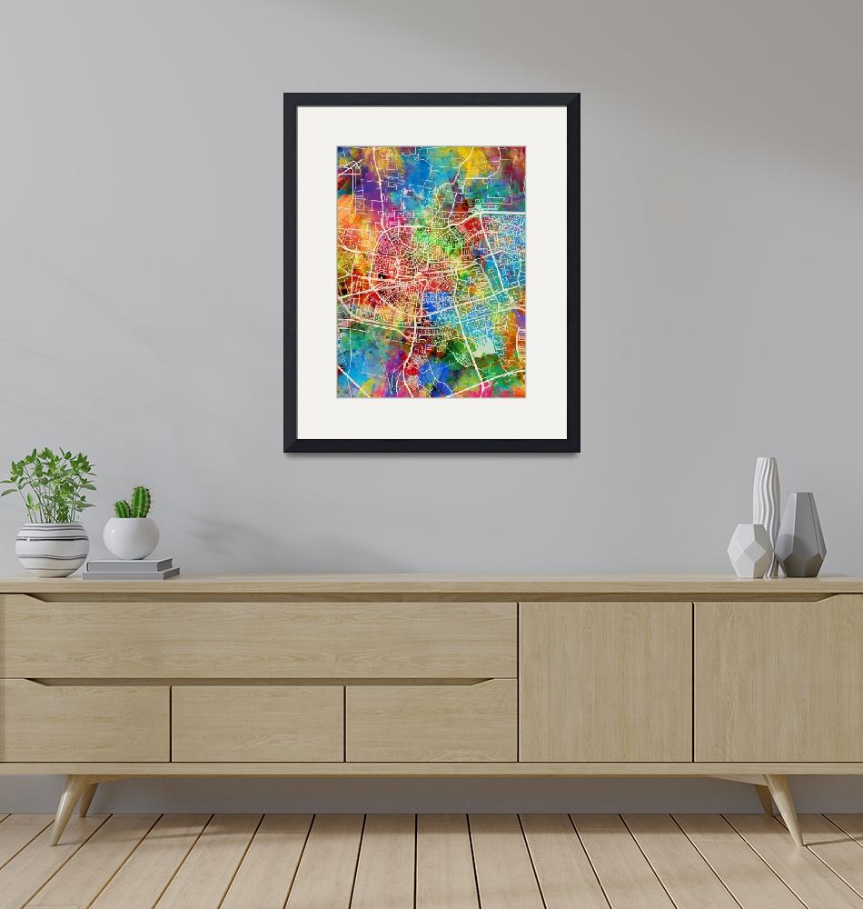 """Leeuwarden Netherlands City Map""  (2018) by ModernArtPrints"