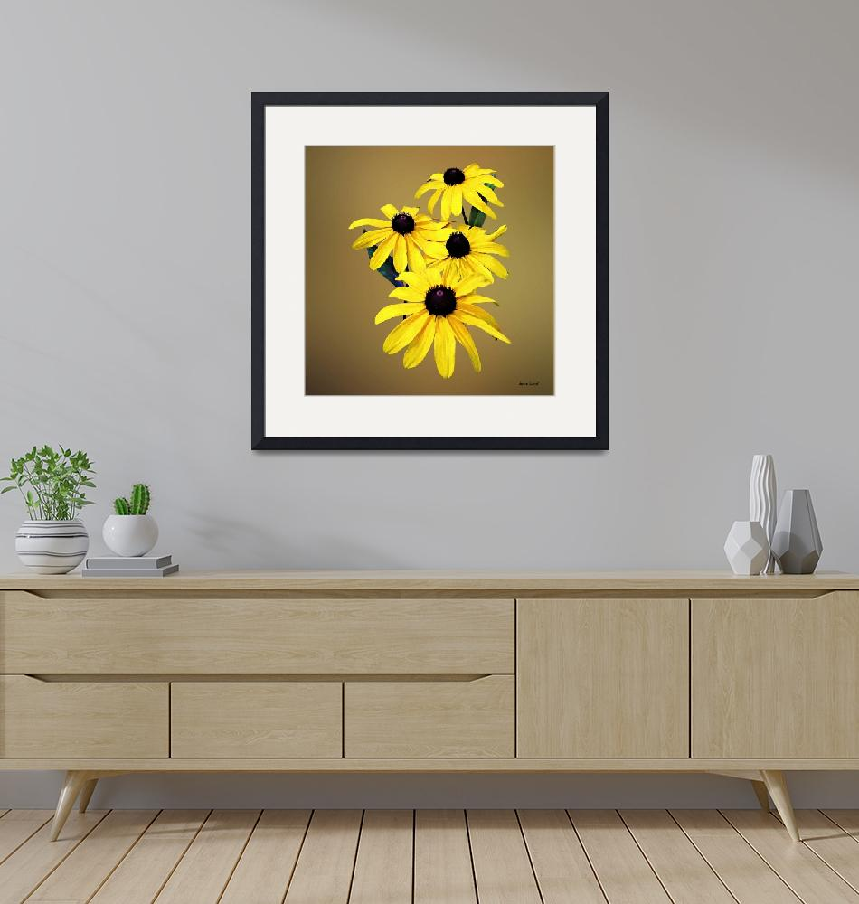 """Black-Eyed Susans in a Row""  by susansartgallery"