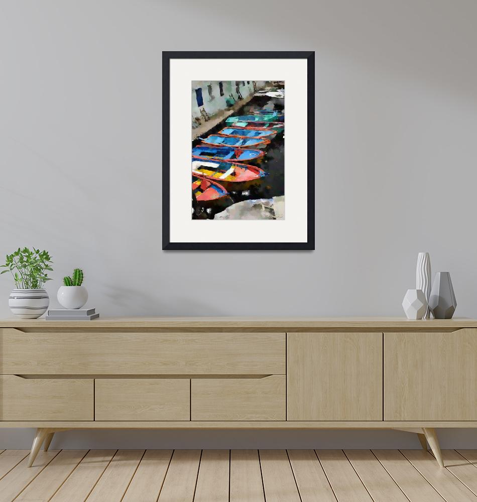 """""""Small Old Colorful Boats - Oil""""  (2012) by WallArtDeco"""