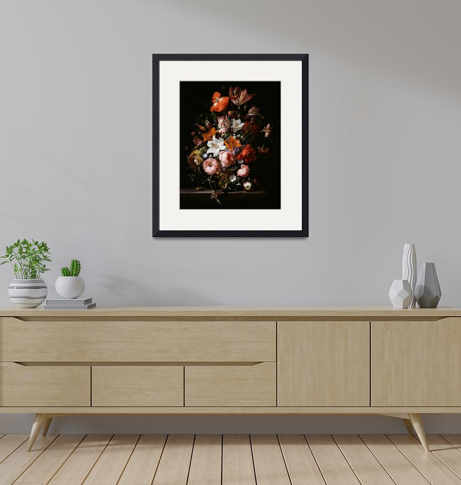 """""""Rachel Ruysch~Flowers in a Glass Vase"""" by Old_master"""