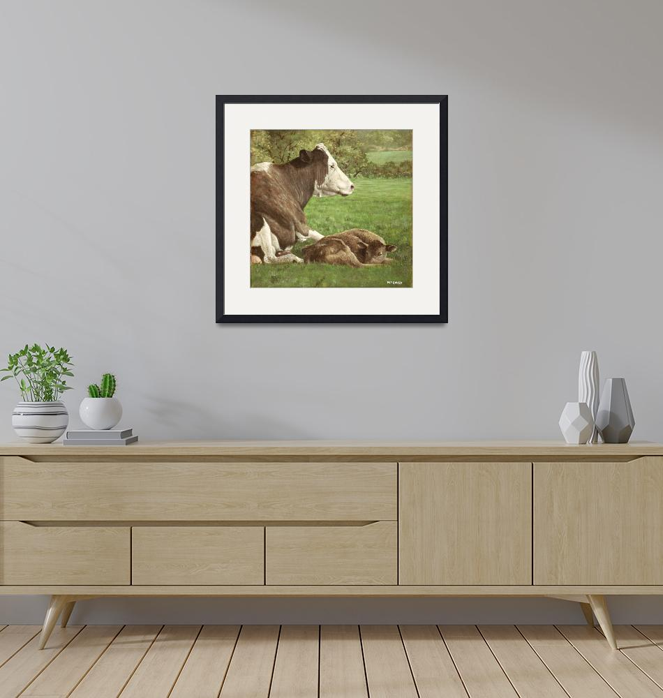 """""""cow and calf in field""""  (2010) by martindavey"""