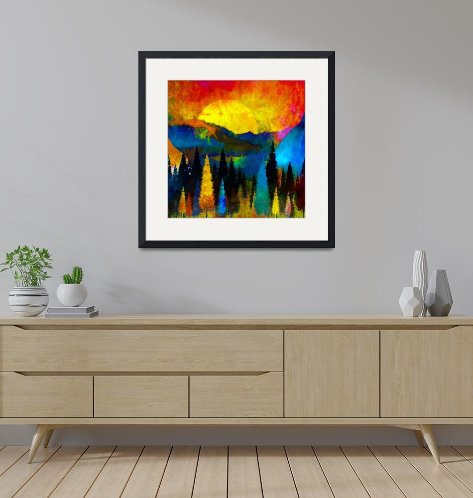 """""""Mountian sunset painting""""  (2021) by lizmix"""