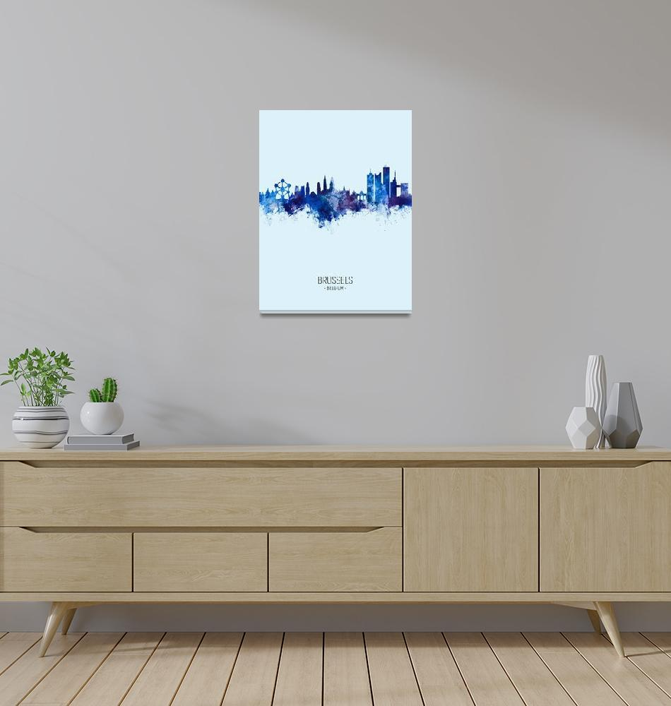 """Brussels Belgium Skyline""  (2019) by ModernArtPrints"