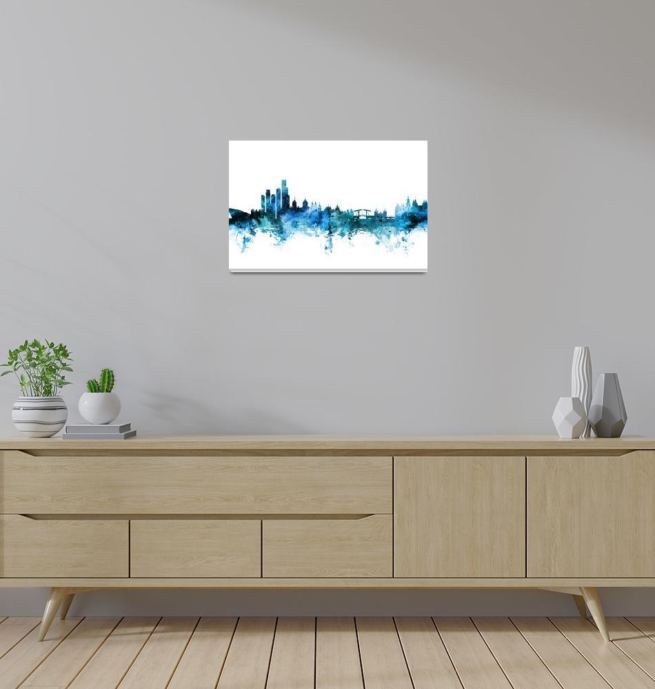 """Amsterdam The Netherlands Skyline""  (2018) by ModernArtPrints"