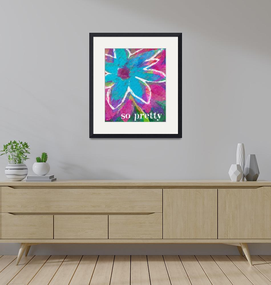"""SO PRETTY - BRIGHT PINK AND AQUA FLOWER"" (2009) by lisaweedn"